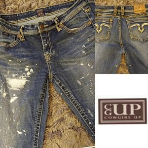 Cowgirl Up Paint Splatter Jeans Size 30